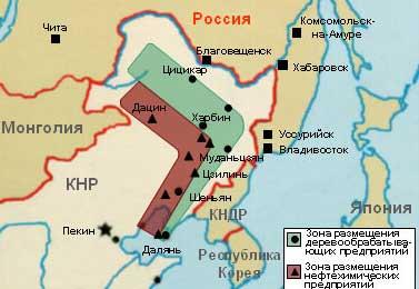 Комплекс деревообрабатывающих и нефтехимических предприятий сопредельного российскому Дальнему Востоку Северо-востока Китая