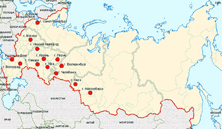 распределение городов-миллиоников по территории России
